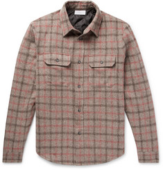 John Elliott Checked Brushed Wool-Blend Padded Overshirt