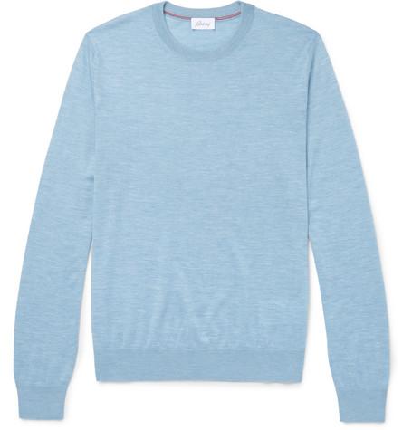BRIONI | Brioni - Slub Cashmere-blend Sweater - Blue | Goxip