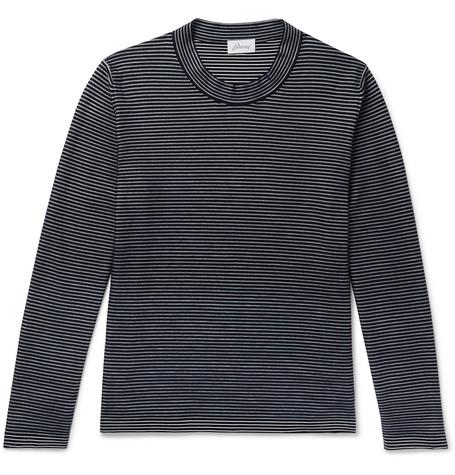 BRIONI | Brioni - Slim-fit Striped Cotton And Silk-blend Sweater - Navy | Goxip