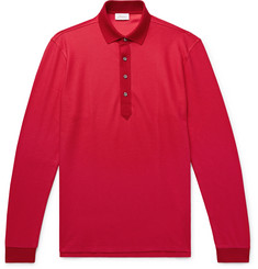 Brioni Cotton and Silk-Blend Piqué Polo Shirt