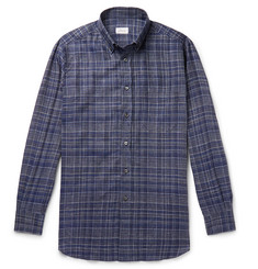 Brioni Button-Down Collar Checked Linen Shirt