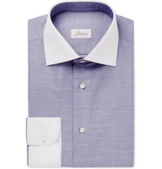 Brioni Navy Contrast-Trimmed Cotton-Poplin Shirt