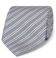 Brioni 8cm Striped Silk and Linen-Blend Tie