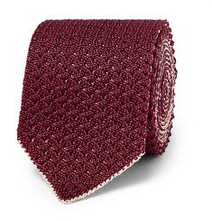 Brioni 6cm Reversible Knitted Silk and Linen-Blend Tie