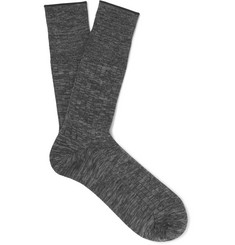 Mr P. - Mélange Cotton-Blend Socks