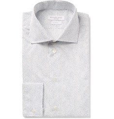 Richard James White Slim-Fit Cutaway-Collar Printed Cotton-Poplin Shirt
