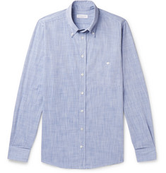 Richard James Button-Down Collar Mélange Cotton Shirt