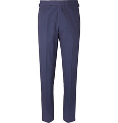 Richard James Navy Hyde Slim-Fit Cotton-Seersucker Suit Trousers