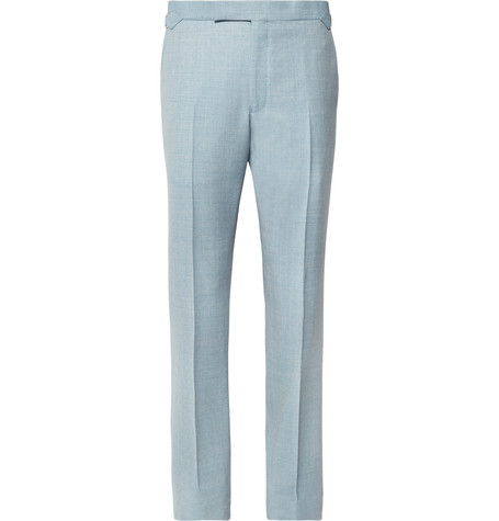 Sky Blue Hyde Slim Fit Mélange Wool Hopsack Suit Trousers by Richard James