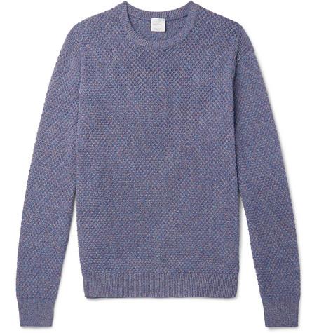 PAUL SMITH | Paul Smith - Textured Mélange Cotton Sweater - Purple | Goxip