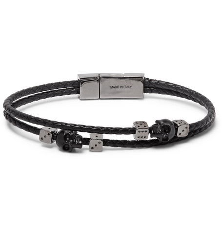Braided Leather And Gunmetal Tone Bracelet by Alexander Mc Queen