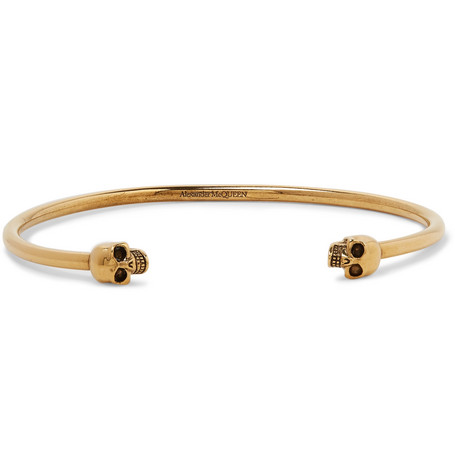 Skull Gold Tone Cuff by Alexander Mc Queen