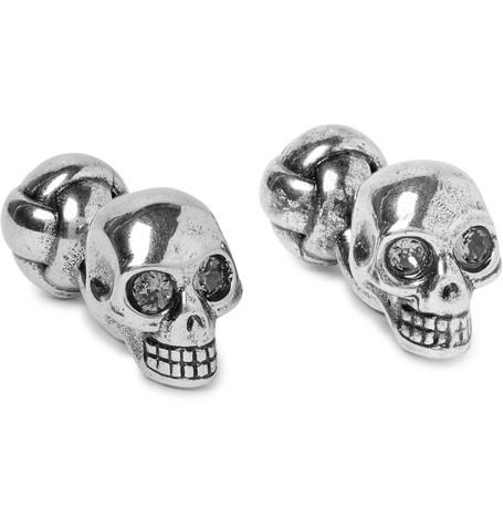 Alexander McQueen – Skull Silver-tone Crystal Cufflinks – Silver