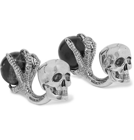 Alexander McQueen – Skull Silver-tone Onyx Cufflinks – Silver