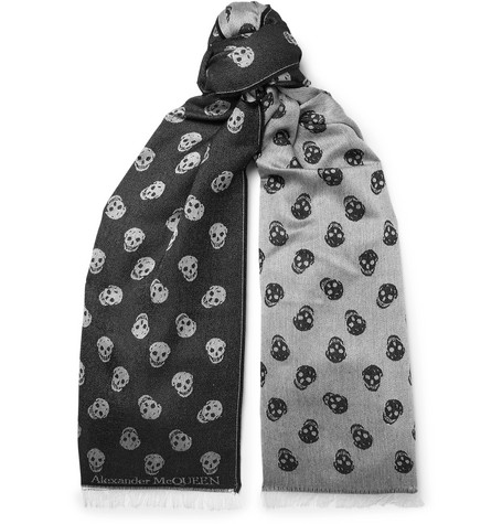 Reversible Printed Wool And Silk Blend Scarf by Alexander Mc Queen