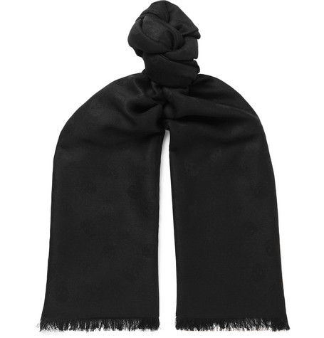 Wool And Silk Blend Jacquard Scarf by Alexander Mc Queen