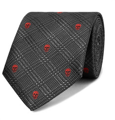 7cm Embroidered Prince Of Wales Checked Silk-jacquard Tie - Black