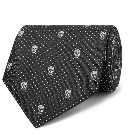 8cm Skull And Polka Dot Jacquard Silk Twill Tie by Alexander Mc Queen