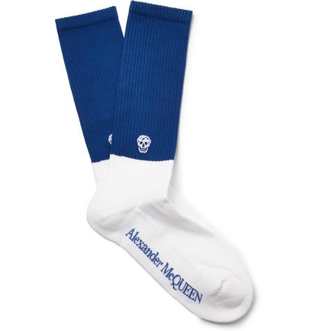 Alexander McQueen – Skull-intarsia Ribbed Cotton-blend Socks – Blue