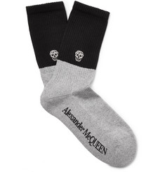 Skull-intarsia Stretch Cotton-blend Socks - Gray