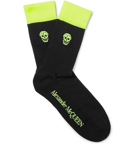 Alexander McQueen – Skull-intarsia Ribbed Cotton-blend Socks – Black