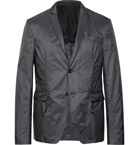 Slim Fit Dark Grey Shell Blazer by Prada