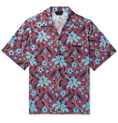 Prada Camp-Collar Printed Satin Shirt