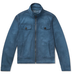Prada Burnished-Leather Blouson Jacket