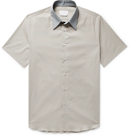 slim-fit-contrast-trimmed-stretch-cotton-blend-poplin-shirt by prada