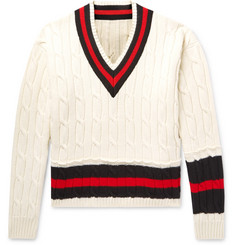 Striped Cable-knit Wool Sweater - Off-white