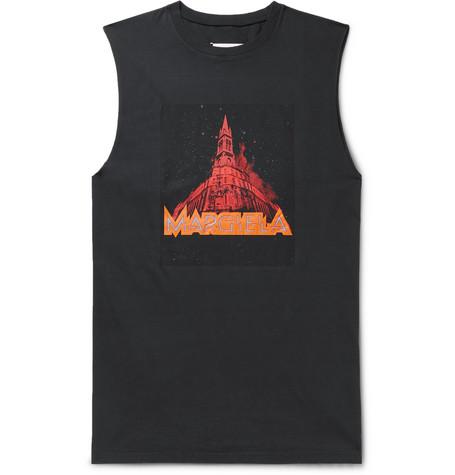 Maison Margiela – Printed Cotton-jersey Tank Top – Black