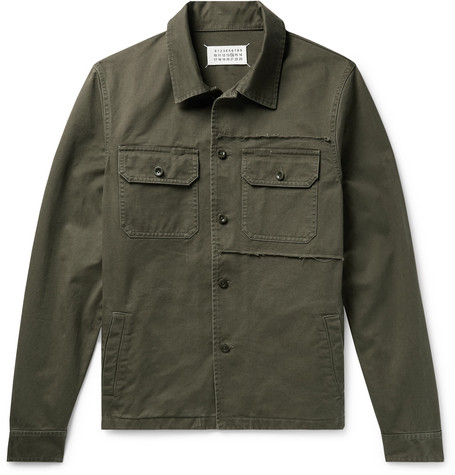 Slim Fit Distressed Cotton Twill Overshirt by Maison Margiela