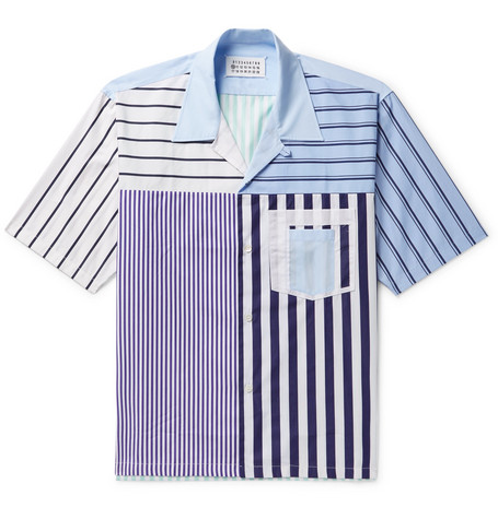 Camp Collar Striped Cotton Poplin Shirt by Maison Margiela