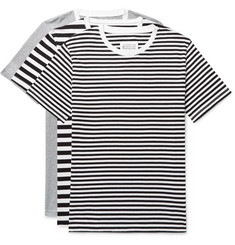 Maison Margiela Three-Pack Slim-Fit Striped Cotton-Jersey T-Shirts