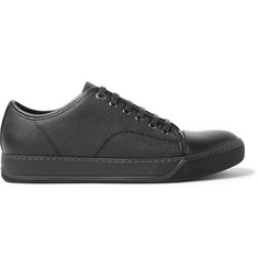 Lanvin Cap-Toe Pebble-Grain Leather Sneakers