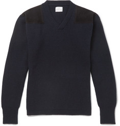 Kingsman - Merlin's Suede-Panelled Ribbed Wool Sweater