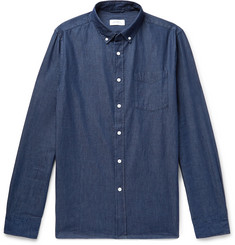 Saturdays NYC Button-Down Collar Cotton-Chambray Shirt