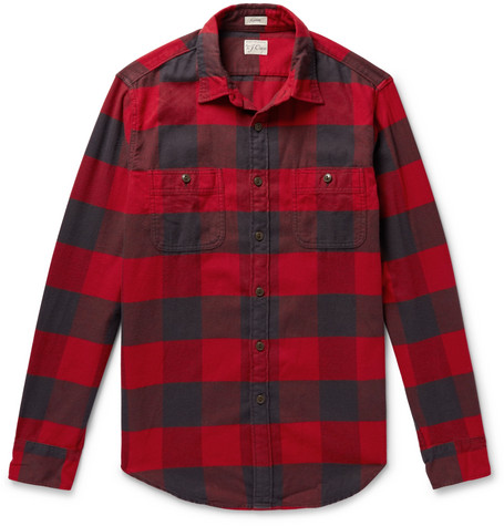 Buffalo Check Cotton Flannel Shirt by J.Crew