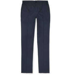 Incotex Navy Slim-Fit Stretch-Cotton Poplin Drawstring Trousers