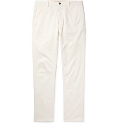 Slim-fit Cotton-blend Twill Trousers - Cream