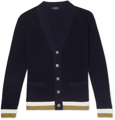 Slim-fit Contrast-tipped Cotton Cardigan - Navy