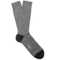 Ribbed-knit Socks - Gray