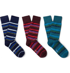 Paul Smith - Three-Pack Stretch Cotton-Blend Socks