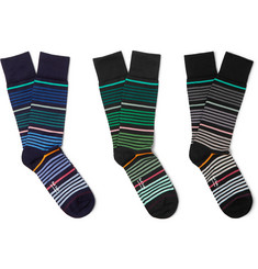Paul Smith - Three-Pack Striped Stretch Cotton-Blend Socks