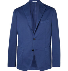 Boglioli Blue K-Jacket Unstructured Stretch-Cotton Twill Suit Jacket
