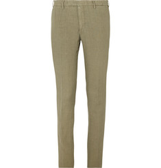 Boglioli Slim-Fit Tapered Olive Linen Suit Trousers