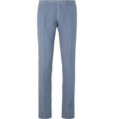 Boglioli Blue Slim-Fit Linen Suit Trousers