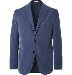 Boglioli Navy Unstructured Cotton-Corduroy Blazer