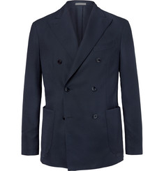 Boglioli - Navy Slim-Fit Unstructured Double-Breasted Virgin Wool Hopsack Blazer