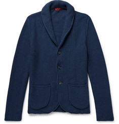 Isaia Shawl-Collar Cotton and Cashmere-Blend Cardigan